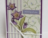 Purple Flowers Spring Christian Thinking Of You Card With Scripture
