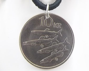 Iceland Fish Coin Necklace, 10 Kronus, Coin Pendant, Leather Cord, Mens Necklace, Womens Necklace, 1996
