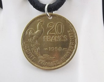 Rooster Coin Necklace, French 20 Francs, Coin Pendant, Mens Necklace, Womens Necklace, Leather Cord, Birth Year, 1950