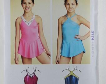 Kwik Sew 3774, Girls' Leotards Sewing Pattern, Sewing Pattern, Girls' Sewing Pattern, Girls' Size 7 -14, Dance Costume Pattern, Uncut