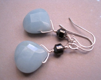 Amazonite Earrings, Sterling Silver Earrings, Hematite Earrings, Blue Teardrop Earrings, Stone Earrings