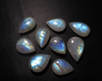 Rainbow MOONSTONE - AAA - HIgh Quality Smooth Polished Pear Shape Briolettes Rainbow Flashy Fire Huge size 15x21 - 17x25 - 9 pcs DRILLED
