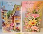 Unused, Vintage, 1960's Set of 5 GET WELL Greeting Cards with New Envelopes, Beautiful Colors