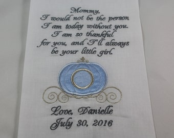 Personalized - Mother of the Bride - Embroidered - Wedding Handkerchief - Princess Carriage - Simply Sweet Hankies