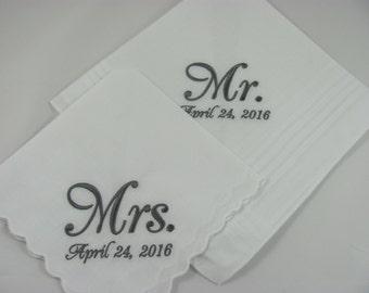 Set of 2  machine embroidered wedding handkerchiefs by Simply Sweet Hankies