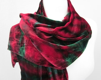 Scarf Silk Velvet Red and Green Large Size