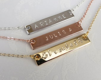 Name Plate Necklace Rose Gold Silver or Gold Personalized Bar Necklace Gift for Her Bridesmaids Gift Custom Hand Stamped