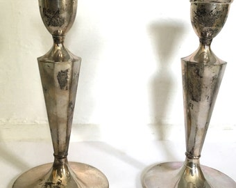 Reserved - Pair of Sterling Silver Candle Stick Holder