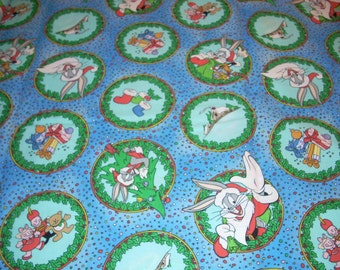 """Christmas -  Santa Bugs Bunny - Looney Tunes - cotton fabric -  26 inches long by 43"""" wide"""