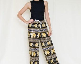 Yellow Elephant Printed Rayon Harem Pants /Gypsy Pants/Aladdin Pants/Genie Pants/Yoga Pants /Thai Pants