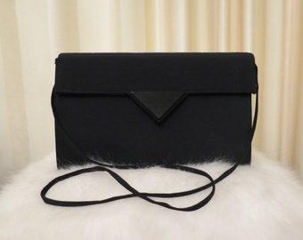Vintage 80s Sachi Black Handbag Shoulder Bag Clutch Evening Purse