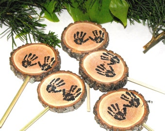 Woodland Baby Shower decorations,  handprint Cupcake toppers, Wood slice decorations, Rustic Baby handprints baby shower decorations