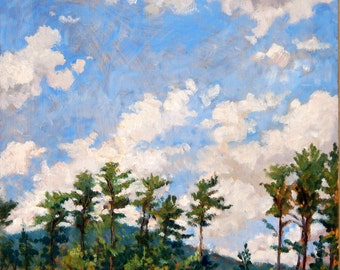 Tall Pines, Tanglewood Sky. Original Oil Painting Landscape, 11x12 Plein Air Impressionist Oil on Panel, Signed Original Berkshires Fine Art
