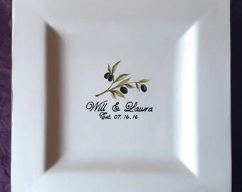 Wedding Guest Book Alternative - Guest Book Plate - Signature Plate Guest Book - Custom Guest Book -  Olive Branch