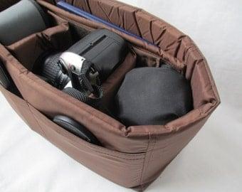 Brown Camera Bag Insert  - Adjustable Divider - Size 5x10x7 - INSTOCK