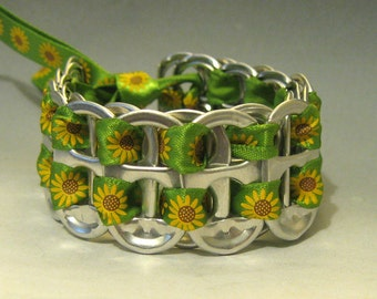 Recycled Soda Pop Can Tab Bracelet Sunflowers