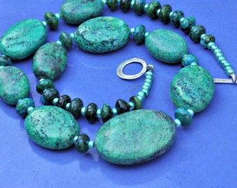 Chrysocolla Chunky Blue Green Turquoise Necklace