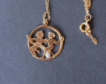 Gemini 14K Gold Filled Zodiac Pendant Necklace