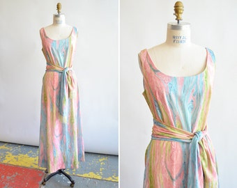 Vintage 1960s BLEEKER ST psychedelic maxi dress