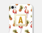 Flamingo iPhone 6 Case Personalized iPhone 6s Case Monogram Pineapple Samsung Galaxy S6 Case Gold iPhone 6 Plus Case iPhone 5s Case