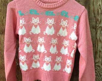Vintage Kitty Cat Sweater // Perfect Pullover for the Little Lady in Your Life