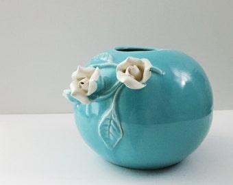 Beautiful Vintage Ceramic White Rose Flower Sphere Round Vase Planter - Robin's Egg Blue