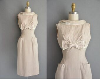 50s cute beige polka dot linen cotton vintage wiggle dress / vintage 1950s dress