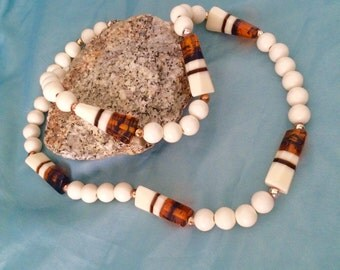 Chunky Necklace, Lucite Amber Beads, Modernist Statement Necklace Tribal Vegan Vintage 70s 80s