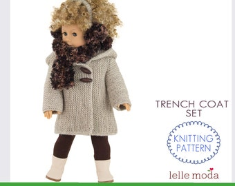 Knitting Pattern - for 18 inch American Girl Dolls - 18 inch Dolls Clothes pattern - 18 inch Boy Doll Clothes - Winter Coat for Doll