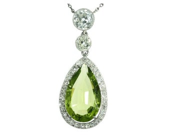 Pear Peridot Pendant Diamond Platinum Necklace Art Deco c.1920