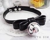 Black Leather Bell Choker