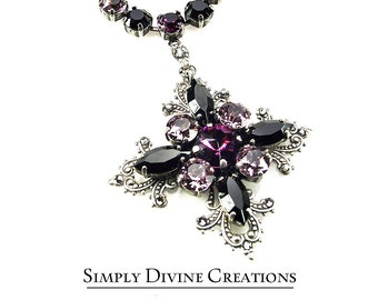Swarovski Crystal Cross Necklace, Hand Knotted Filigree Cross Necklace, Gothic Jewelry, Victorian Cross Necklace