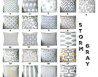 Gray Pillow Covers, Decorative Throw Pillows, Cushions, Storm Grey White, Couch Bed Sofa Pillows, One or More Mix & Match ALL SIZES