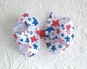 4th of July Hair Bow, Red, White and Blue Boutique Bow, Toddler Hair Bows, Patriotic Hair Bow, Stars Hair Bow, Hair Bows for Little Girls