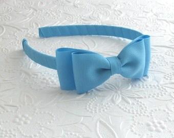 Sky Blue Girls Bow Headband, Plastic Headband for Toddlers