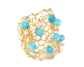 Big Gold Ring Caribbean Blue Teal Stone Delicate Wire Knit Jewelry Wide Band Ring Lace Mesh Ring Summer RingLapisbeach