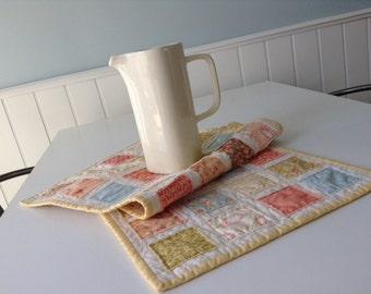 QUILTED TABLERUNNER, RAGGY Patches,  Sunshine Yellow, Coral, Blue, Green, Kitchen, Dining Room Table, Casual Dining