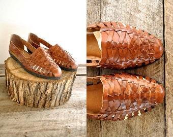 Huarache Sandals  Sz 7  //   Woven Leather Sandals Sz 37.5  //  MOCHA SANDS