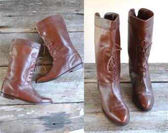 Italian Leather Boots Size 8  //  80s Flat Boots Size 38.5  //  MADE in ITALY