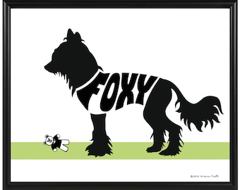 Personalized Chinese Crested Hairless Silhouette Print, Framed Dog Decor, Dog Memorial Gift