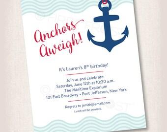 Nautical Beach Sailor Party Printable Invitation - Birthday, Party, Celebration