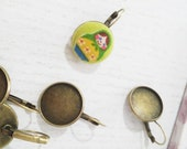 Bronze Earrings Clips Round Cabochon Settings (Fits 18 mm) - 10 pcs