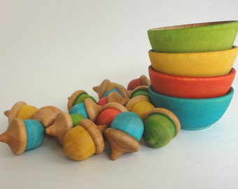 Acorn sorting set, waldorf math, montessori learning toy, all natural - eco friendly wooden toy