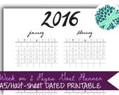 PRINTABLE Planner Inserts Week on 2 Pages A5 Half-Letter Goal Planner Black and White