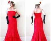 BIG ASS SALE vintage 80s 90s does 50s red lace mermaid gown dress strapless bomshell Valentines Day Katniss girl on fire