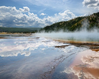 In Wonderland - Yellowstone National Park, Grand Prismatic Spring Pool, art, photo, print, steam, reflection, clouds, travel photography
