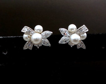 STERLING SILVER- Bridal earrings wedding bridesmaid gift ribbon bow pearl stud earrings with cubic zirconia swarovski cluster round pearls.