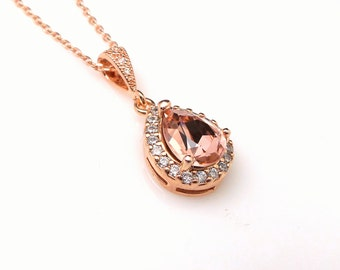 wedding bridal jewelry bridesmaid gift rose gold necklace vintage rose blush pink teardrop swarovski pendant chain necklace fancy rhinestone