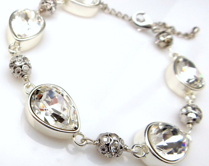 Wedding jewelry bridesmaid party gift bridal silver bracelet prom pageant swarovski clear teardrop cut fancy rhinestone crystal bracelet