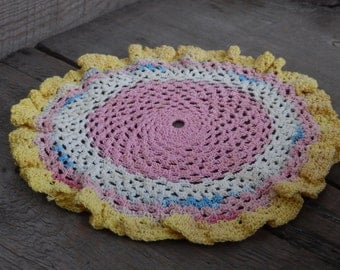 Vintage Doily Romantic Cottage Chic Decor Handmade Pink Golden Yellow Striped Doily Kitchen or Nursery Decor
